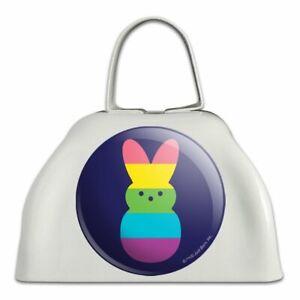 Arc En Ciel à Rayures Bunny Ouvert En Métal Blanc Sonnaille Vache Bell Instrument-afficher Le Titre D'origine