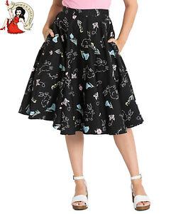 HELL BUNNY CHERIE CIRCULAR SKIRT cherry 50s style BLACK XS-4XL