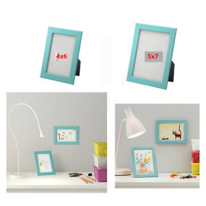 Ikea Picture Frame 1 To 4 Pk Fiskbo Frames 4x6 5x7 Blue Wood Photo