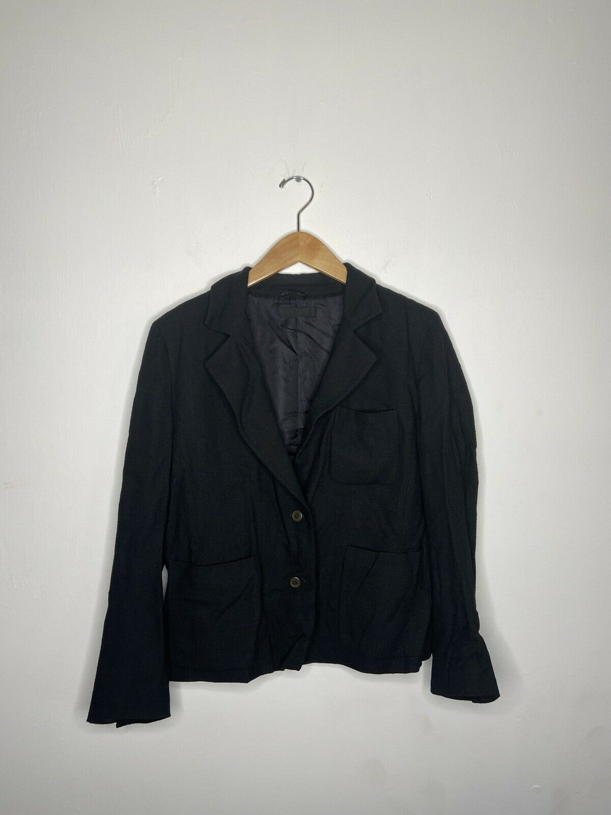 Vintage 90s Prada Womens Black Blazer Suit Jacket… - image 1