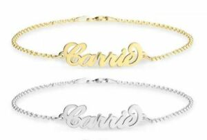 Personalised-Carrie-Name-Bracelet-Gold-Plated-Silver-Handmade-Wrist-Chain