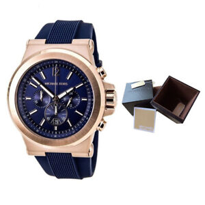 c66155ed2 100% New Michael Kors MK8295 49mm Case Dylan Chronograph Navy Dial ...