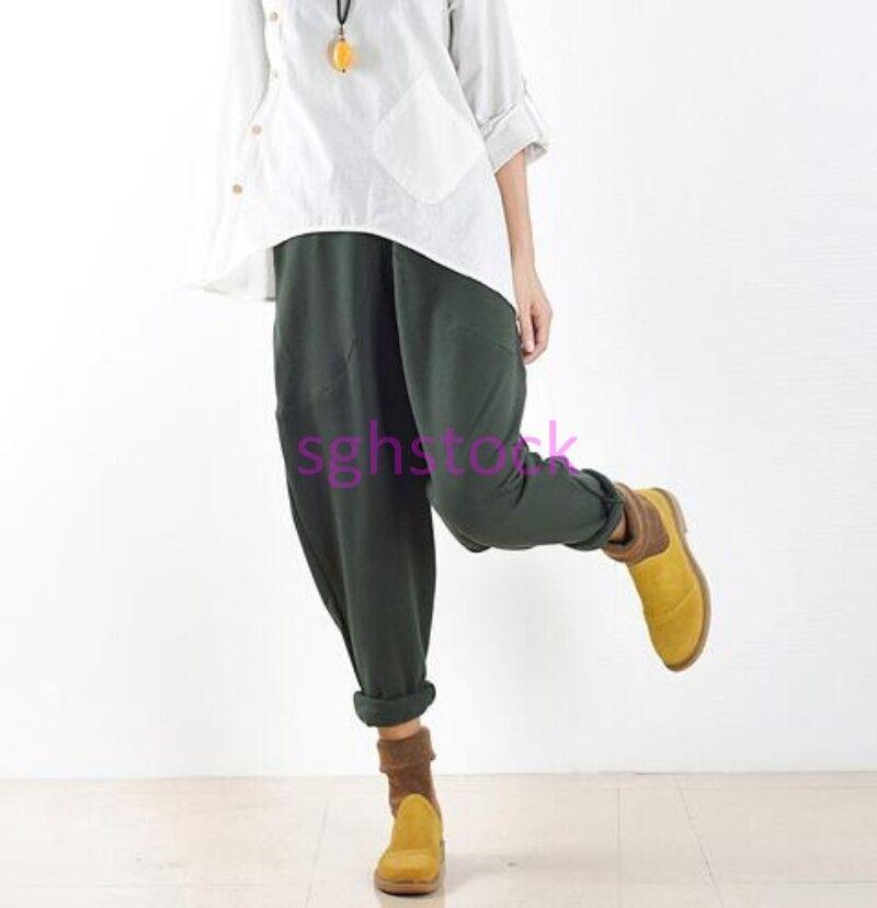 2019 Women's Loose Cotton Linen Low Drop Credch Harem Long Casual Trousers Pants