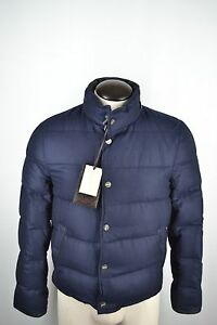 NWT-Brioni-Quilted-100-Cashmere-Blue-Puffer-Bomber-Mens-Jacket-Sz-34