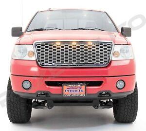 04-08 Ford F150 Raptor Chrome Front Hood Mesh Grille+Shell+White 3x LED Light