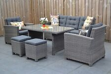 Tischgruppe grau Polyrattan Aluminium Speisegruppe Sitzgruppe Poly Rattan Garten