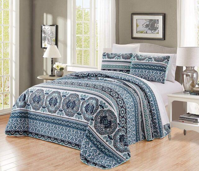 Navy Aqua Blue Black Scroll Quilt Reversible Queen Size Bedspread Coverlet Set