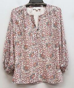 aa2243e93 ANN TAYLOR LOFT Size XS Pink Gray White Floral Half Button Up ...