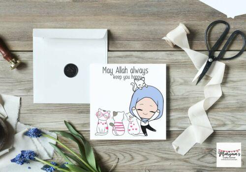 Muslim hijabi woman greeting card