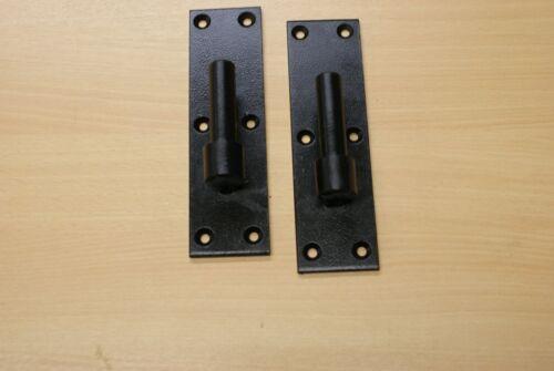 "hook on plate heavy duty for garden gate stable door /& Garage Black 3//4/"" 1 pair"