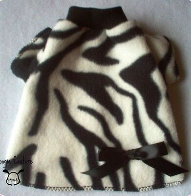 Black Zebra Fleece Dog T-Shirt Clothes Size XXXS-Medium by Doogie Couture