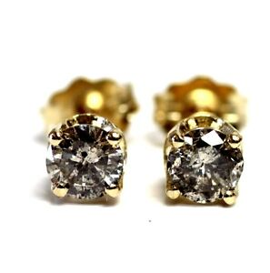 New-14k-yellow-gold-59ct-I2-H-round-diamond-stud-earrings-91g-butterfly-backs
