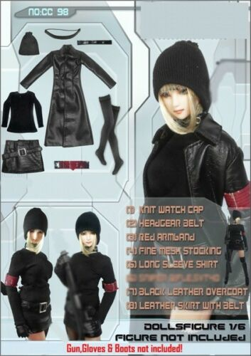 In-Stock onesixth 1//6 Scale Dollsfigure Gothic Female Clothes Leather Set CC98