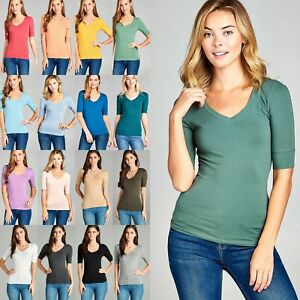 Women-039-s-V-Neck-Elbow-3-4-Cuff-Sleeve-Basic-T-Shirt-Soft-Stretchy-Tee-Top-T9671
