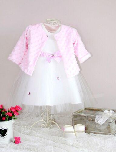 Baby Mädchen Kleid Set Bolero Taufe Hochzeit Festlich Tüll Asanti Neu Weiß Rosa