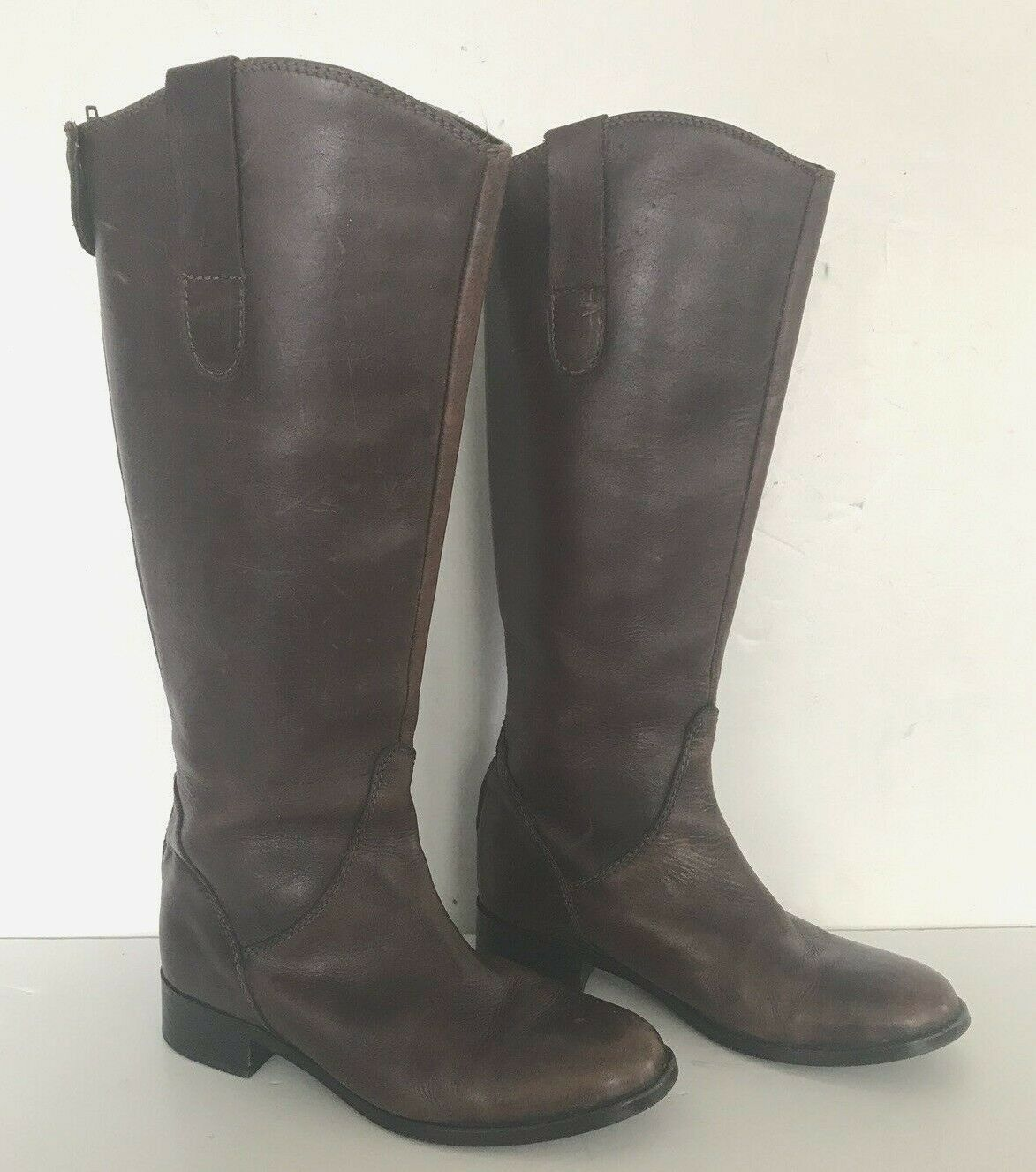 Steve Madden Womens Brown Leather Riding Boots Size 9.5 TALL CALF 9 1 2