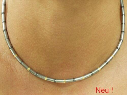 Titan Titanium Halskette Collier Gold Kugel bicolor Silber grau Herren Männer