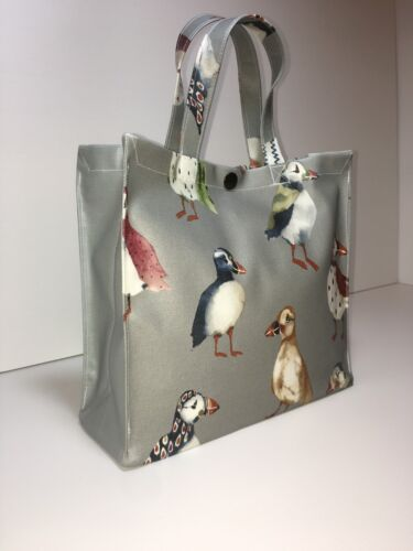 Handmade,100/% Oilcloth Cotton Bags Puffins with Steel Grey Gusset in Matt