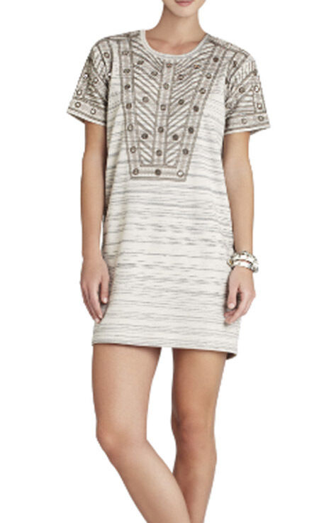 BCBG CANVAS COMBO  ADA  EMBROIDERED SEQUIN SHORT SLEEVE DRESS NWT XS