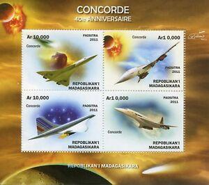 MADAGASCAR-2011-Gomma-integra-non-linguellato-Concorde-40th-ANNIV-4v-M-S-SPAZIO-AVIAZIONE