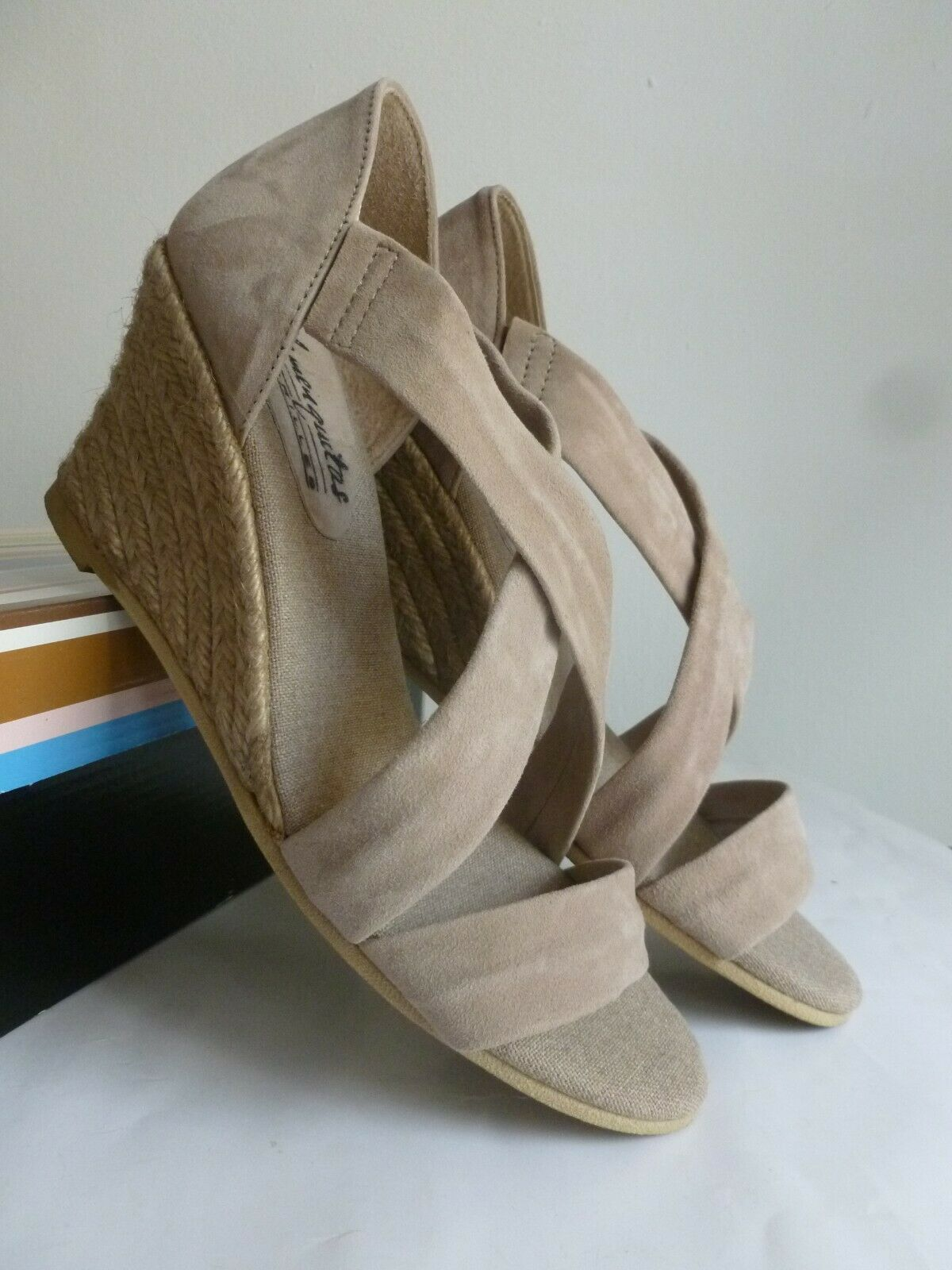 New real suede leather Espadrillas tg. 37 camoscio Color Taupe Nuove
