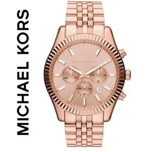 7ce71d45d6d8 Image is loading MICHAEL-KORS-MK8319-ROSE-GOLD-WATCH-LEXINGTON-CHRONOGRAPH-