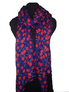 Red-Cherry-Print-Fashion-Scarf-Womens-Ladies-Cherries-on-Navy-Blue-Vintage-Retro