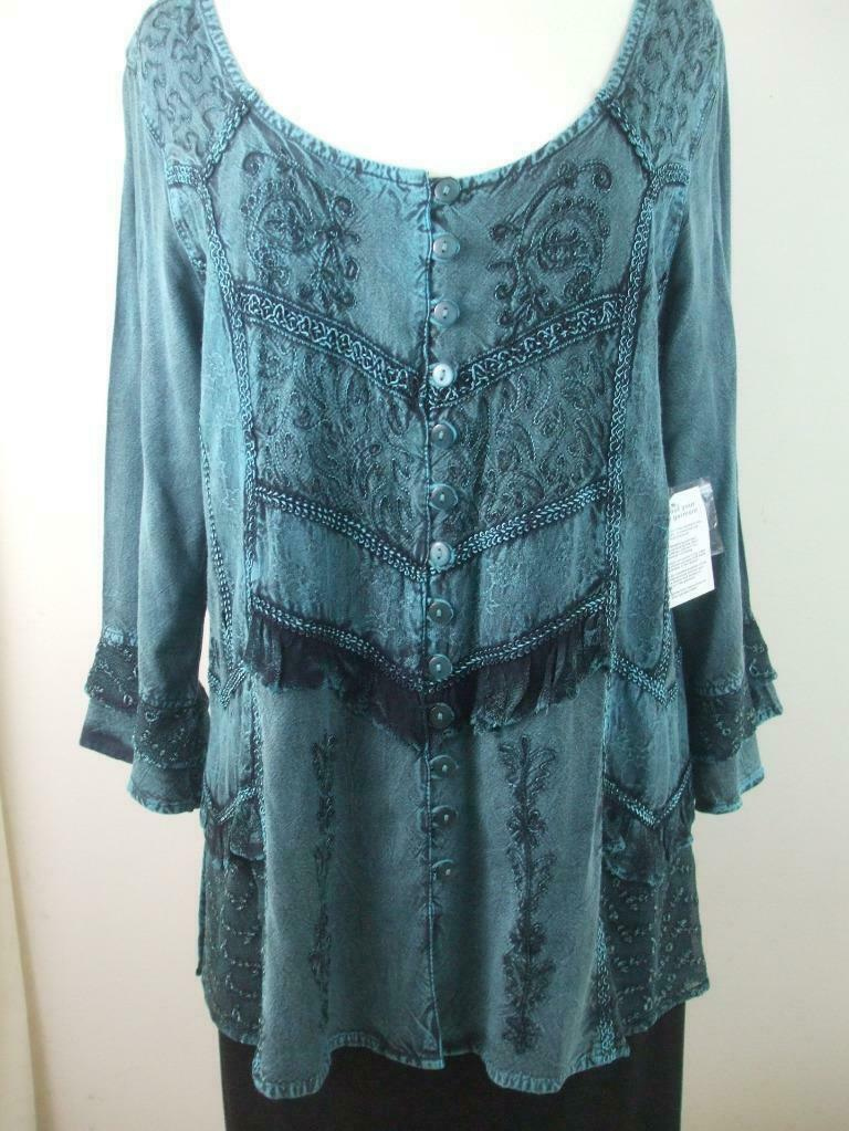 The Pyramid Collection Button Down Blouse Size S Turquoise Green Embroidered