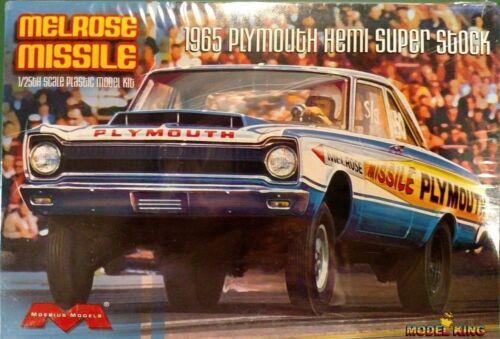 Moebius /'65 Plymouth Hemi Super Stock Melrose Missile 1//25 Scale Model Kit #1229