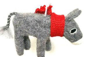 Donkey Felt Hand Made Christmas Ornament