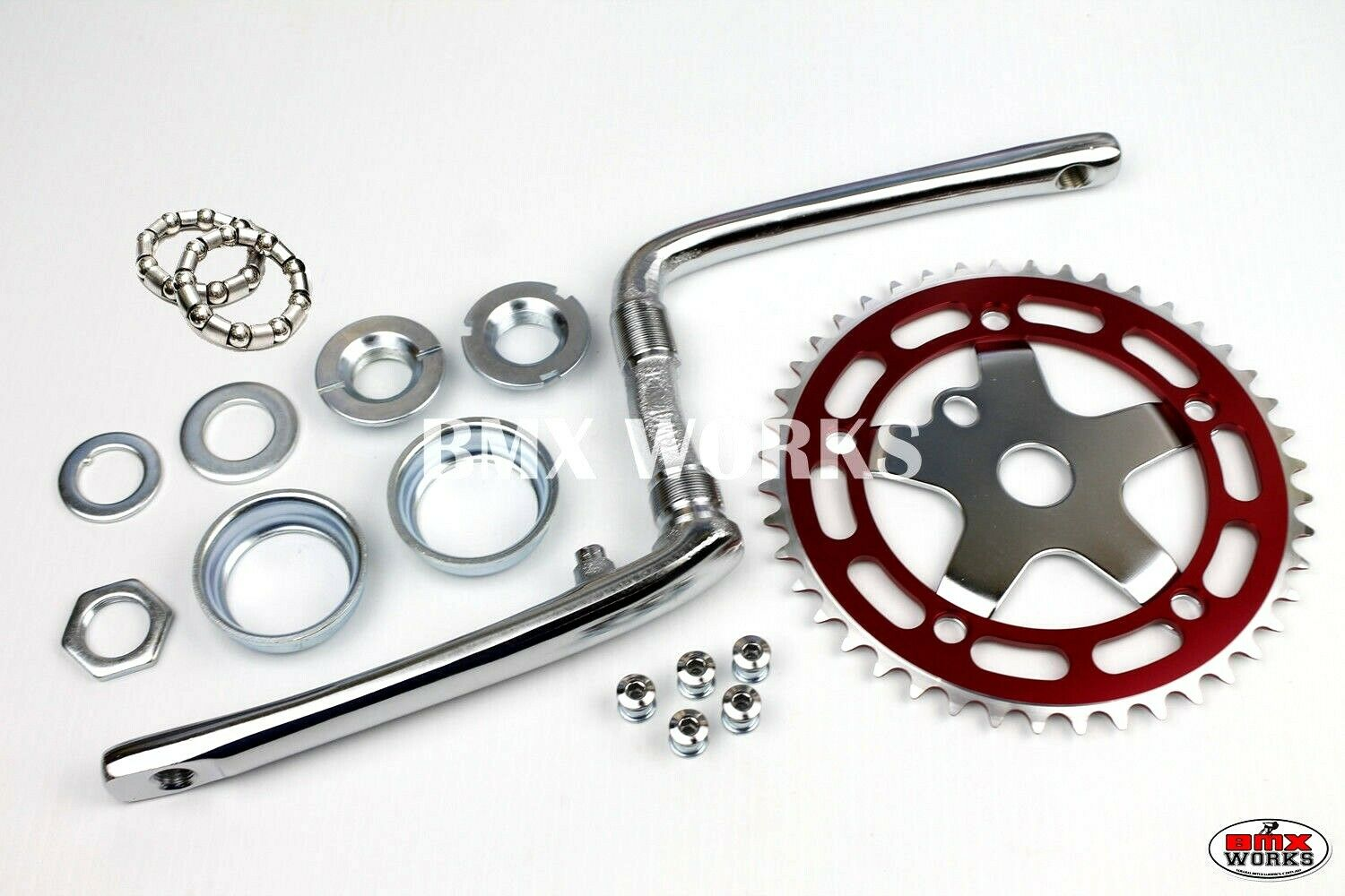 Old School BMX Style Crank, Spider, Chainring, Bearing Sets - 130 BCD Red & CP