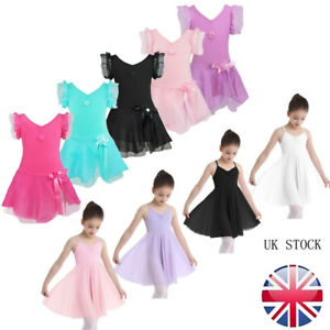 UK-Girls-Gymnastics-Ballet-Dress-Dance-Kids-Tutu-Skirt-Leotard-Dancewear-Costume