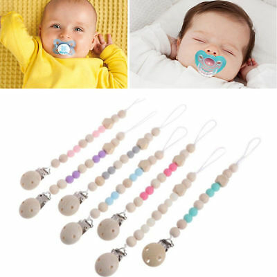 Baby Infant Toddler Wooden Dummy Pacifier Soother Nipple Chain Clip Holder NEW