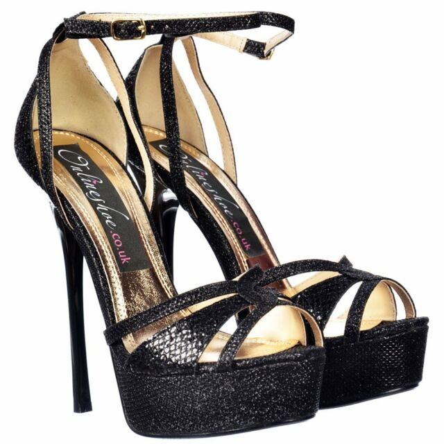 e48787ca1e Ladies Sparkly Black Glitter Ankle Strap Peep Toe Stiletto High Heels  Sandals