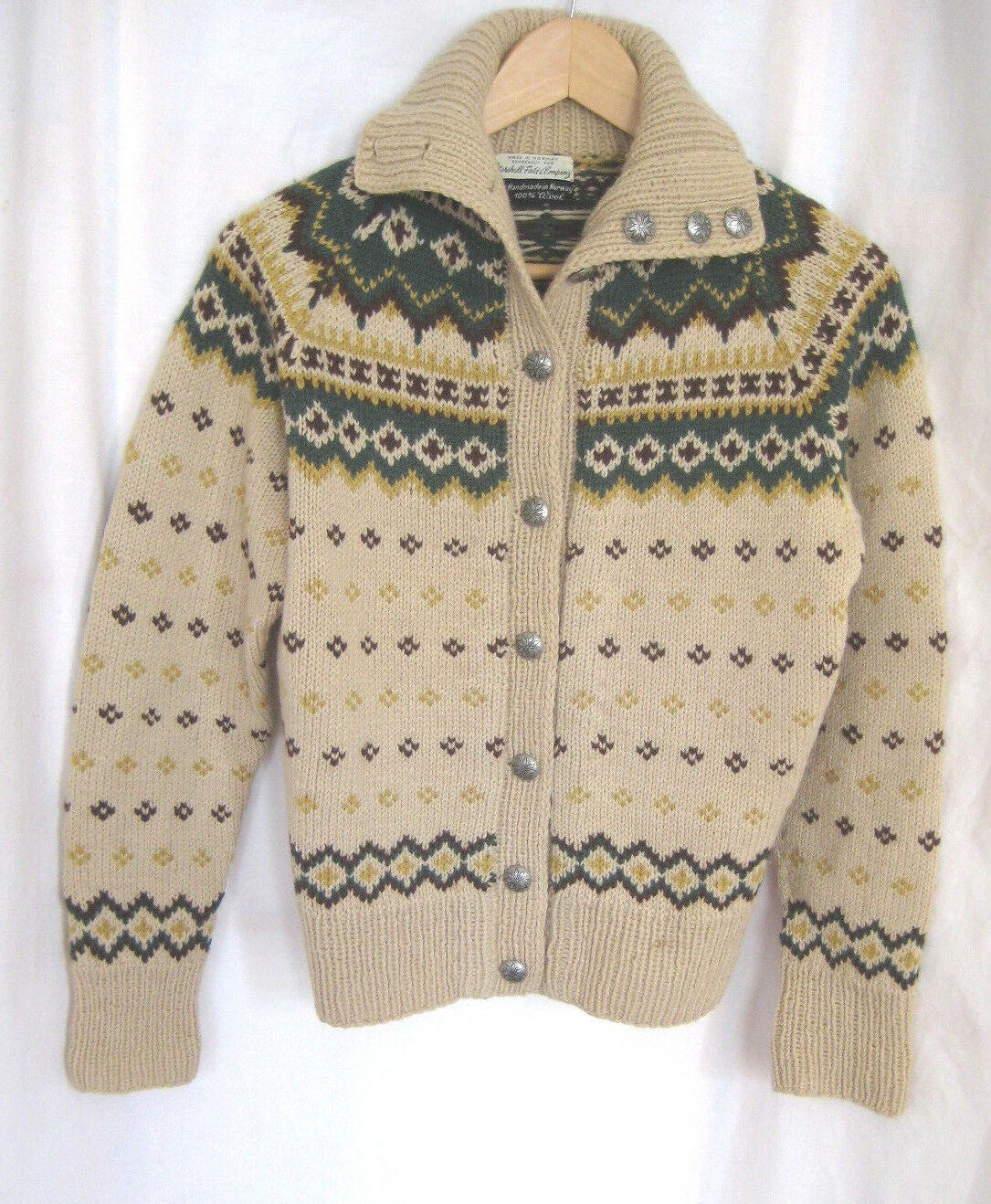 Vintage Handmade in Norway for Marshall Fields 100% Wool Cardigan Sweater S M