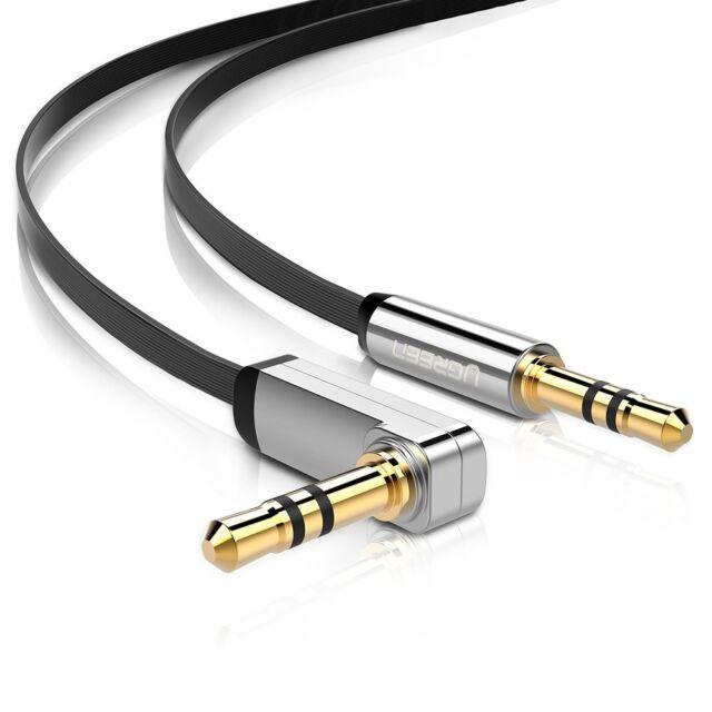 deleyCON 1,5m Klinken Kabel 90° Grad gewinkelt weiß 3,5mm Stecker zu Stecker