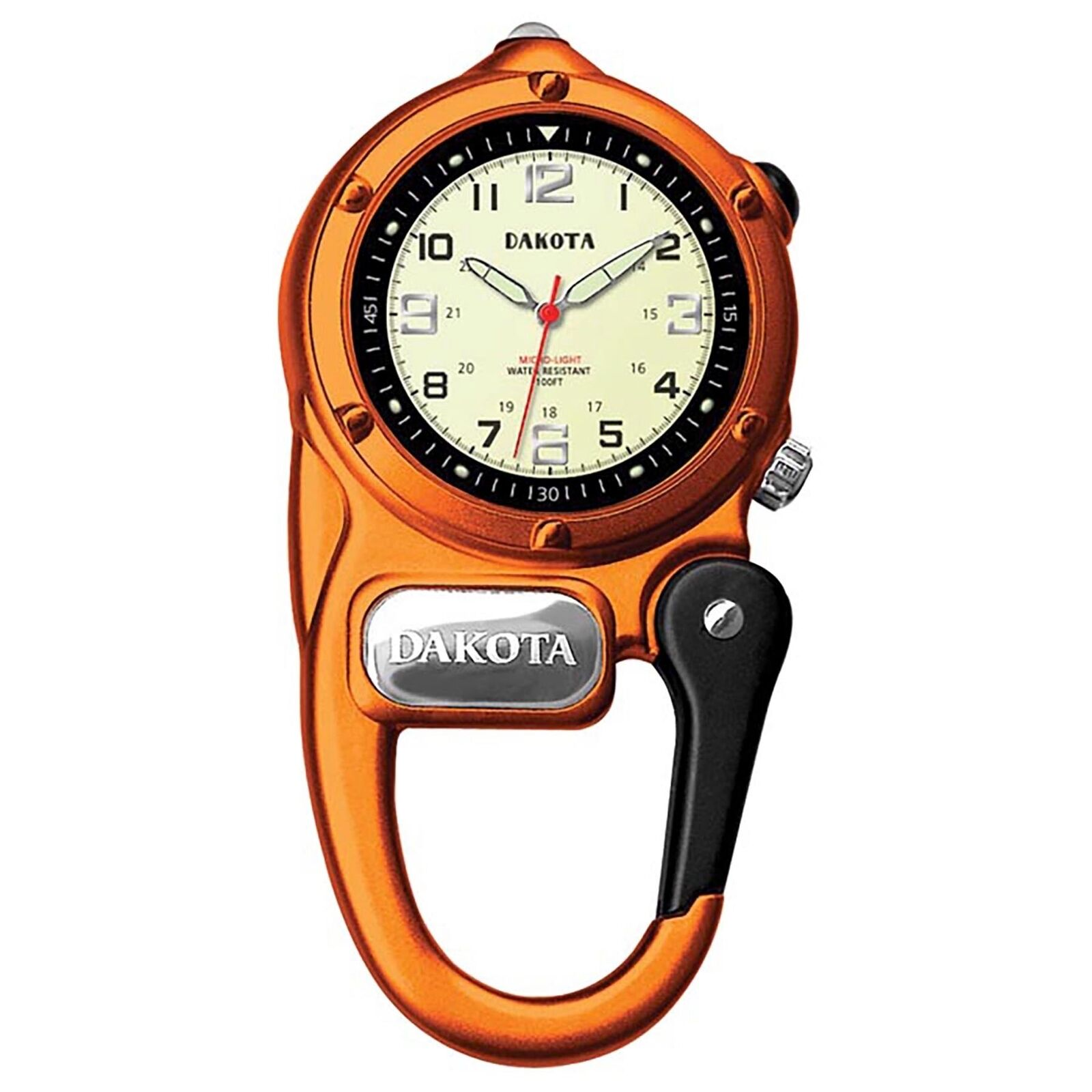 Dakota Watch Company Mini Clip Microlight Watch Orange Water Resistant LED Light