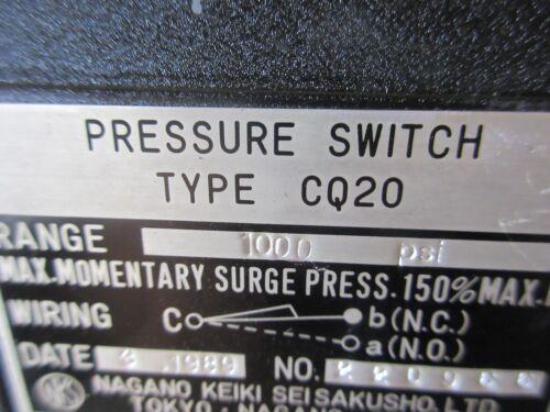 NAGANO KEIKI PRESSURE SWITCH TYPE CQ20 1000 PSI CNC   OKUMA