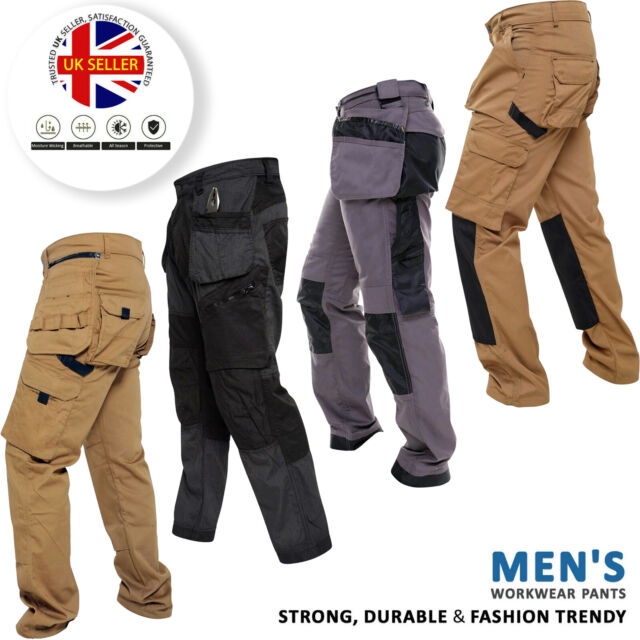 Mens Cargo Combat Workwear Work Trousers Army Blue Castle 901 Size 30-44  3 COLS