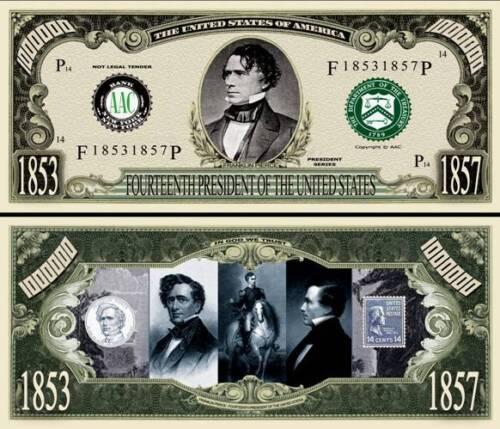 SLEEVE 14th President Franklin Pierce Million Dollar Funny Money Novelty Note