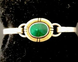 Solid-Sterling-Silver-Gold-Accent-Bracelet-with-Malachite-Hinged-Vintage-23G