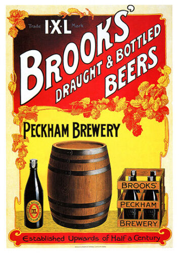 Brooks Peckham Brewery vintage Beer Advertising poster reproduction.