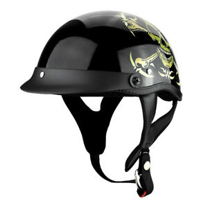 Skull-and-Bones-Motorcycle-Helmet-DOT-Shorty-Low-Profile-Cruiser-Helmet