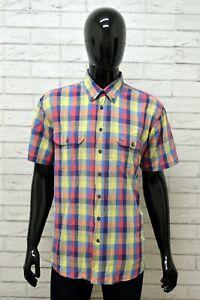 Camicia-CAMEL-ACTIVE-Uomo-Taglia-XL-Maglia-Shirt-Man-Cotone-Manica-Corta-Quadri