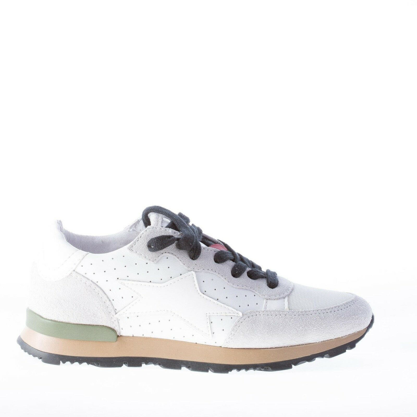 ISHIKAWA women shoes White Running leather and fabric sneaker with grey suede