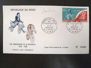 NIGER-AERIEN-88-PREMIER-JOUR-FDC-ANNIVERSAIRE-BICYCLETTE-100F-1968