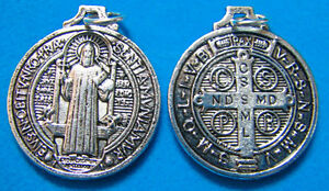 St-San-Benito-Plata-Redondo-Rosario-Medalla-Colgante-2-5cm