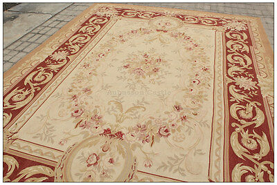 Free Ship Aubusson Castle French Area Rug Rust Antique