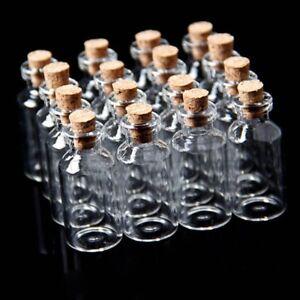 10x-Leere-Kleines-TransparentMerk-Nachricht-Bottles-Glasflasche-mit-Korken-N2P7