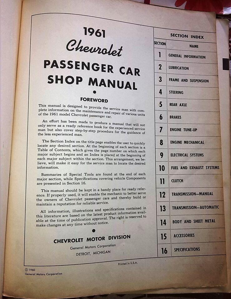 Shop Manual, 1961 Chevrolet